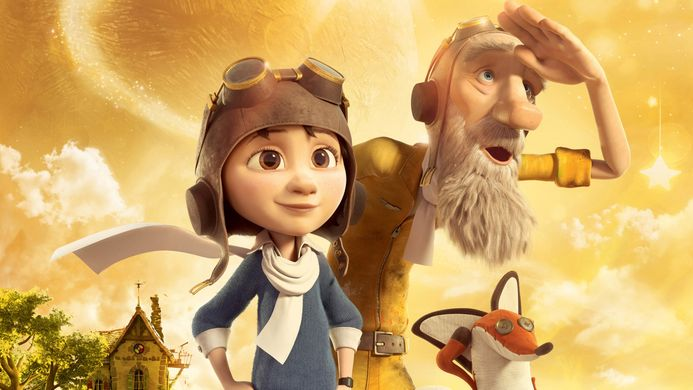 a young animated character with an aviation hat on stands to the left, on their right an elder animated character looks into the horizon, with the same hat on, to the right, a small fox stands.