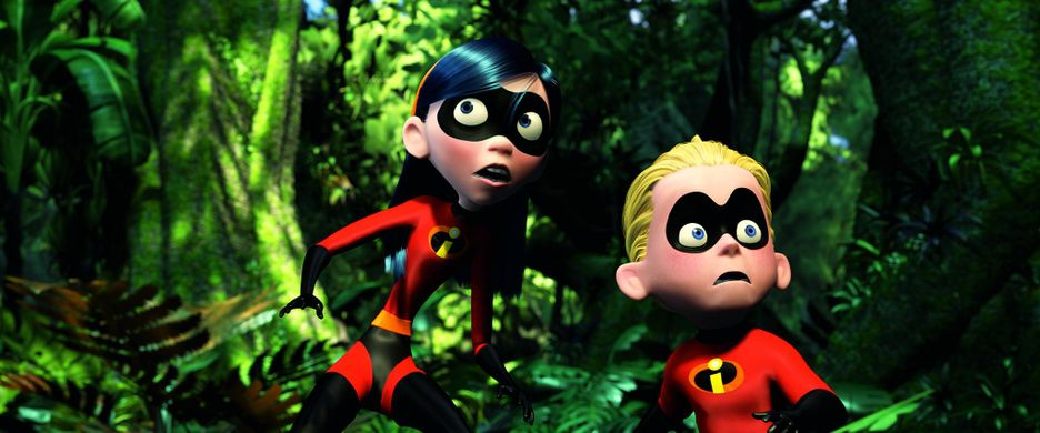Two animated characters on a green background wearing red super-hero costumes.
