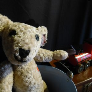 A soft toy bear is looking out, standing in a bucket. There is a toy train in the background.
