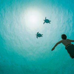 an animated character swims up toward two turtles.